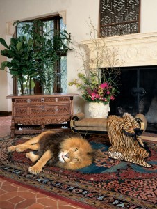 big lion on a rug